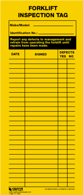 Forklift Inspection Tag (Adhesive)