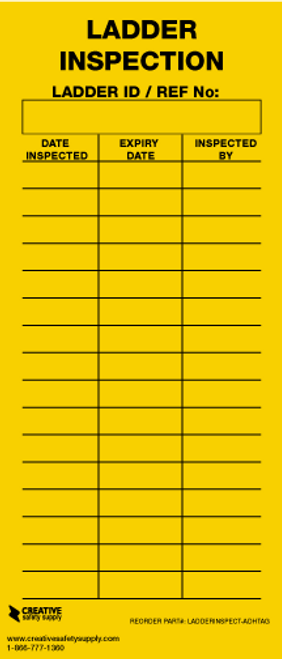 Ladder Inspection Tag (Adhesive)