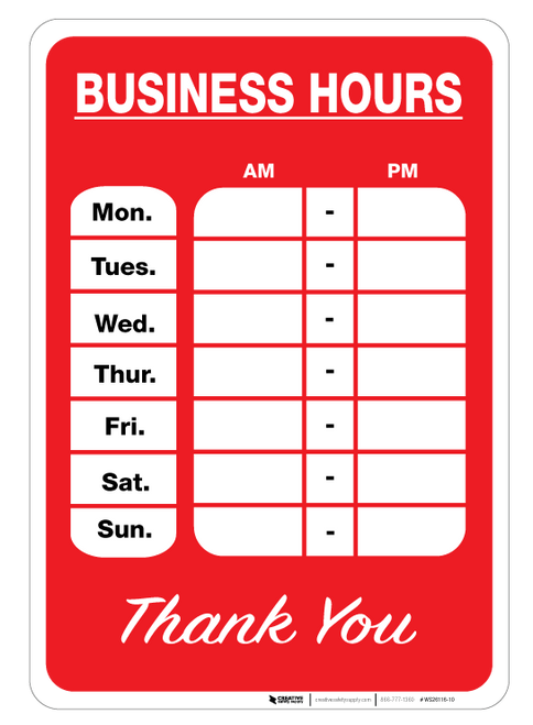 Business Hours - Wall Sign