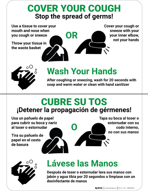 Cover Your Cough - Stop the Spread of Germs! Spanish Bilingual Portrait - Wall Sign