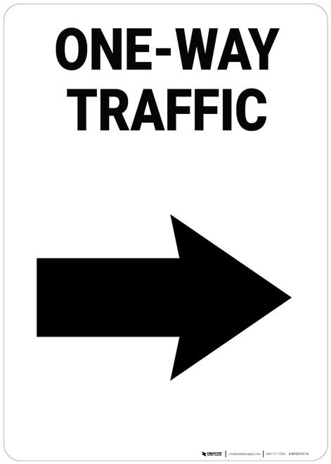 One-Way Traffic Right Arrow Portrait - Wall Sign
