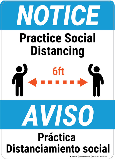 Notice: Practice Social Distancing Spanish Bilingual Portrait - Wall Sign