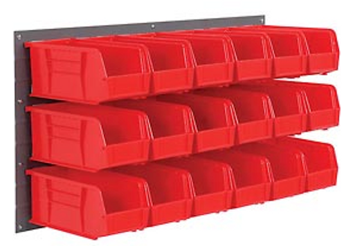 36x19 Wall Panel with 32 Red Storage Bins