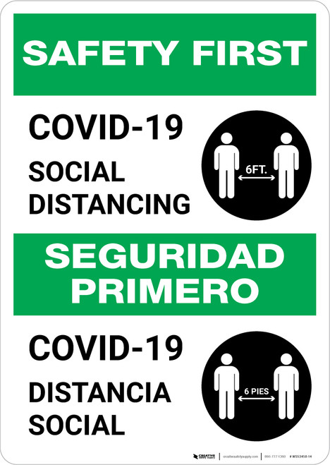 Safety First: COVID-19 Social Distancing Bilingual with Icon Portrait - Wall Sign