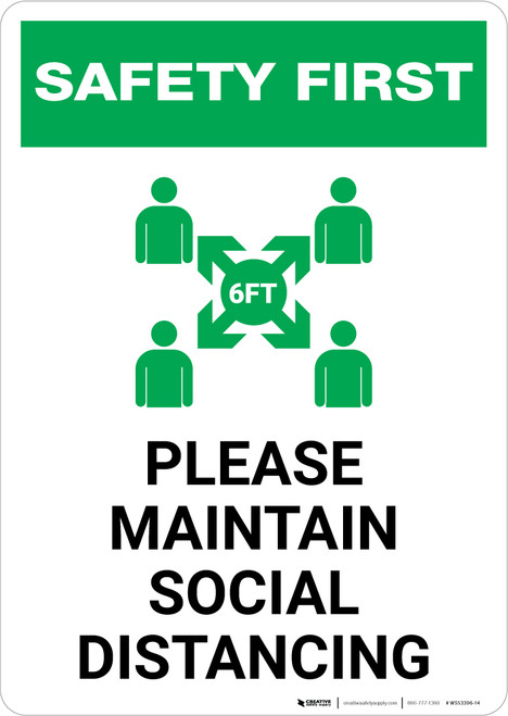 Safety First: Please Maintain Social Distancing with Icon Portrait - Wall Sign