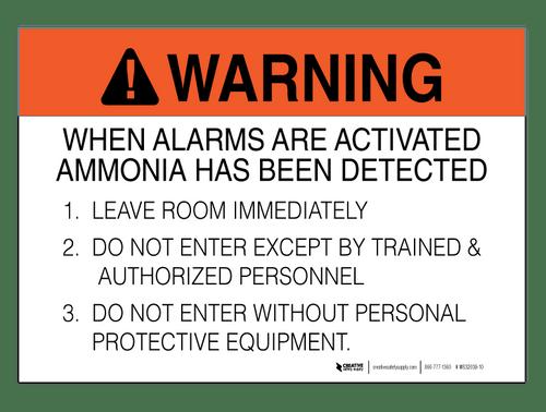 Ammonia Alarm Procedure - Wall Sign