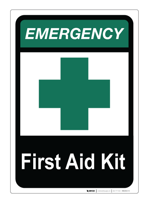 Emergency First Aid Kit - Wall Sign