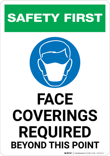 Safety First: Face Coverings Required Beyond This Point with Icon Portrait - Wall Sign