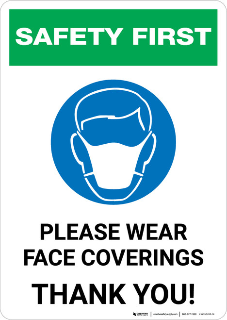 Safety First: Please Wear Face Coverings with Icon Portrait - Wall Sign