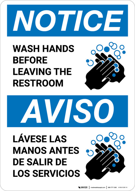 Notice: Wash Your Hands Before Leaving Restroom Bilingual with Icon Portrait - Wall Sign
