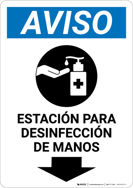 Notice: Hand Sanitizing Station Below Spanish with Icon Portrait - Wall Sign