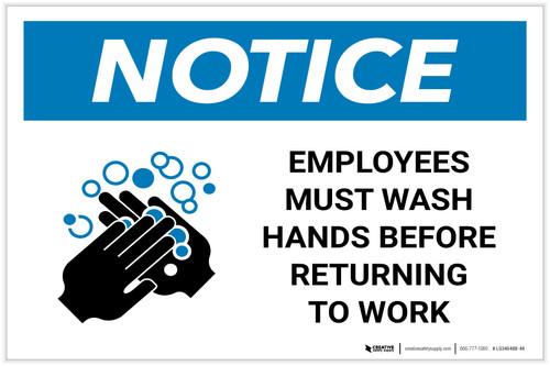 Notice: Employees Wash Hands Before Work ANSI Landscape  - Label
