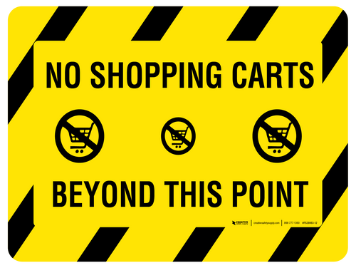 No Shopping Carts Beyond This Point - Floor Sign