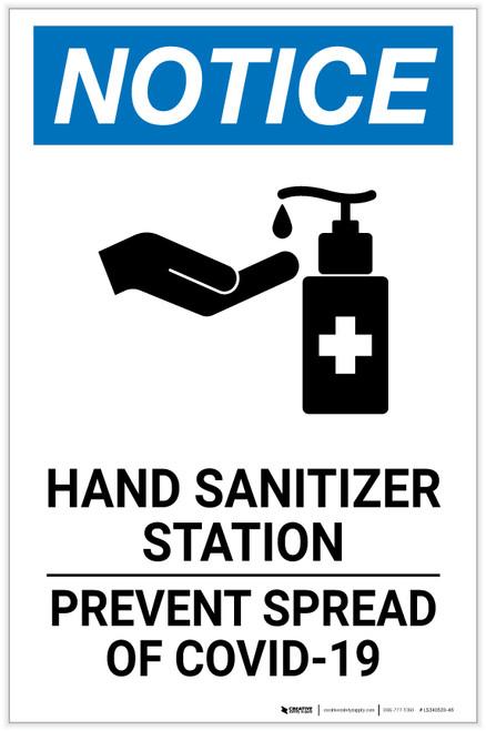 Notice: Hand Sanitizer Station COVID-19 ANSI Portrait - Label