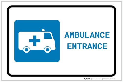 Ambulance Entrance with Icon Landscape - Label