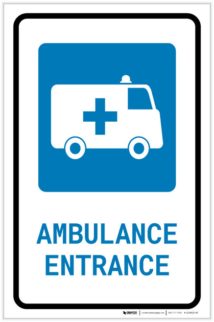 Ambulance Entrance with Icon Portrait - Label
