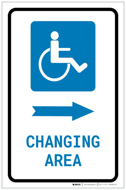 ADA Accessible Changing Area Right Arrow with Icon Portrait - Label