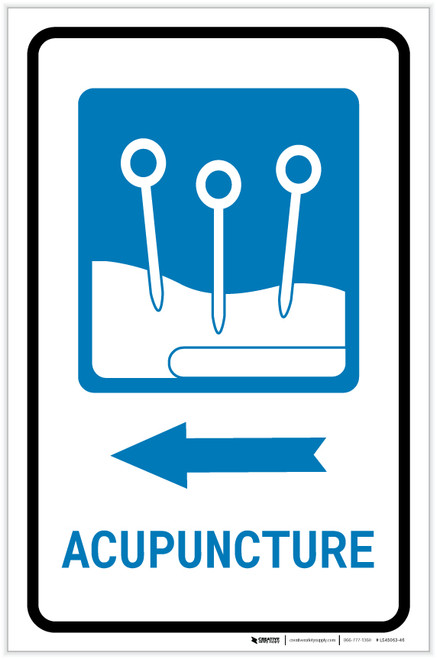 Acupuncture Left Arrow with Icon Portrait - Label