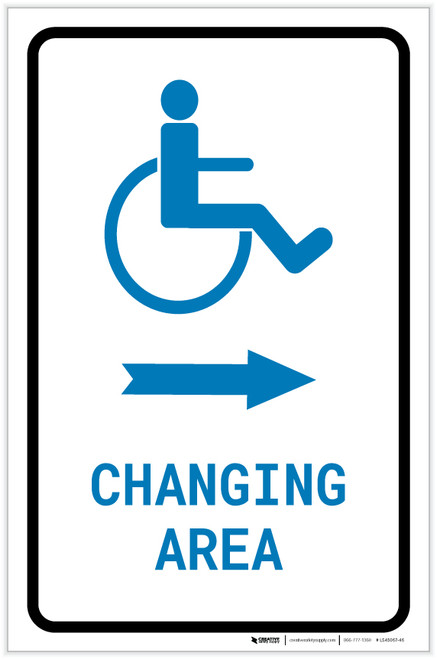 ADA Accessible Changing Area Right Arrow with Icon Portrait v2 - Label