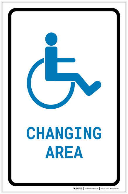 ADA Accessible Changing Area with Icon Portrait v2 - Label