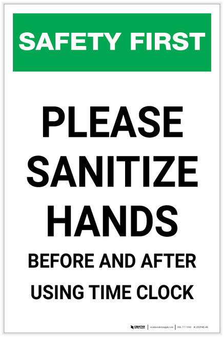 Safety First: Sanitize Hands Before & After Using Time Clock Portrait  - Label