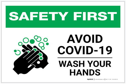 Safety First: Avoid COVID-19 Wash Your Hands Landscape - Label