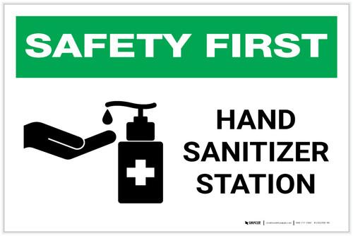 Safety First: Hand Sanitizer Station Landscape - Label