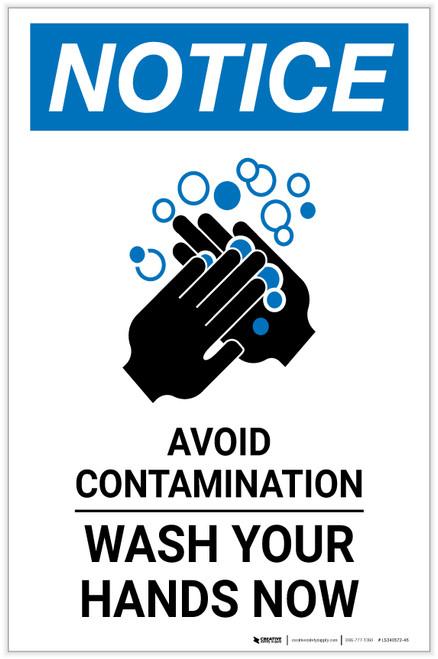 Notice: Avoid Contamination - Wash Your Hands Now Portrait - Label
