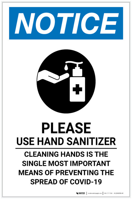 Notice: Cleaning Hands Is The Single Most Portrait - Label