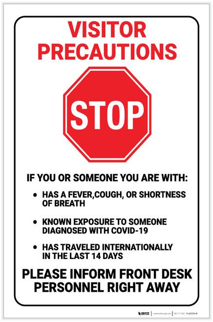 Visitor Precaution Covid-19 - Label
