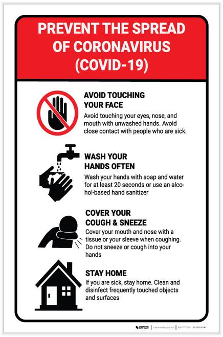 Prevent the Spread of Coronavirus Portrait - Label