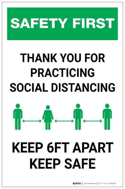 Safety First: Thank You For Social Distancing - Keep 6ft Apart Keep Safe Portrait - Label