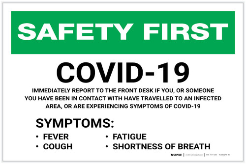 Safety First: Covid-19 Symptoms - Report to Front Desk Landscape - Label