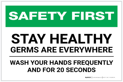 Safety First: Stay Healthy - Germs Are Everywhere Landscape - Label