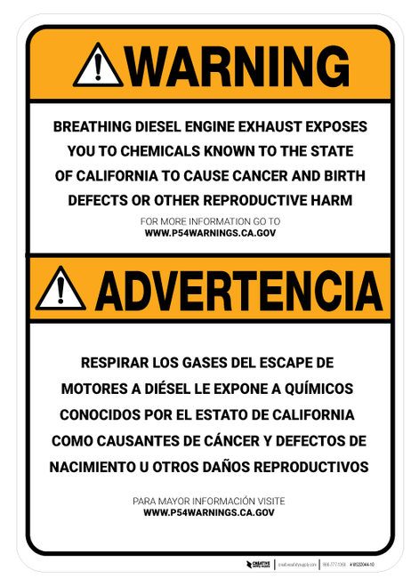 Prop 65 Engine Exhaust Bilingual (Spanish) - Wall Sign