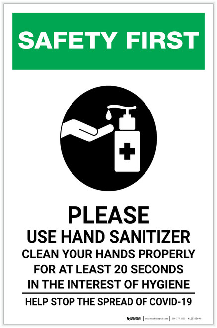 Safety First: Please Use Hand Sanitizer - Clean Your Hands Properly Portrait - Label