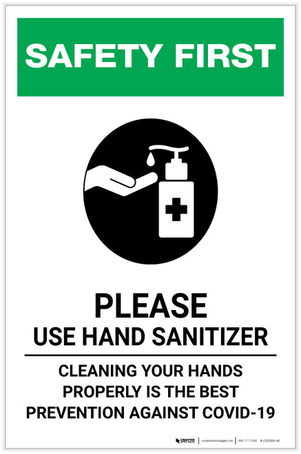 Safety First: Cleaning Your Hands Properly is the Best Prevention Against Covid-19 Portrait - Label