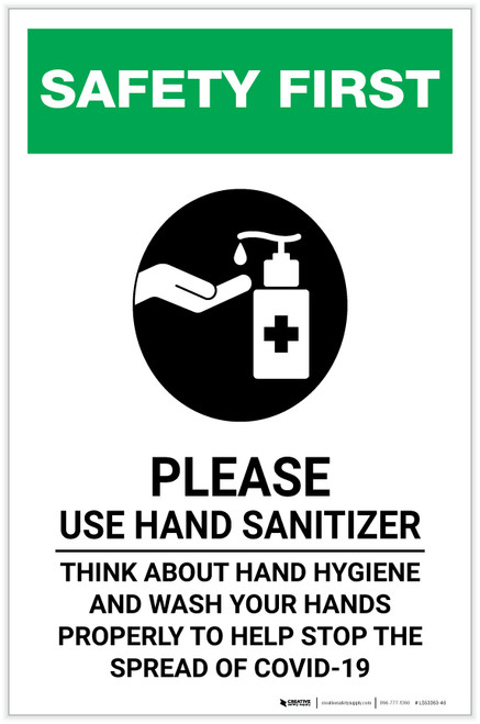 Safety First: Please Use Hand Sanitizer and Think About Hand Hygiene Portrait - Label