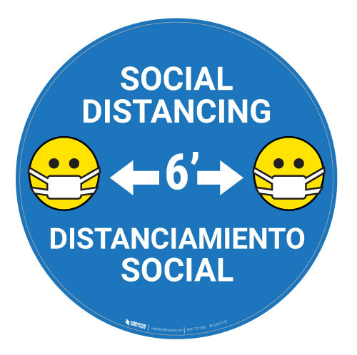 Social Distancing with Facemask Emoji Bilingual - Blue  - Floor Sign