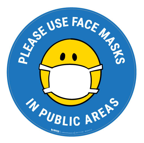 Please Use Face Masks In Public Areas with Facemask Emoji - Light Blue  - Floor Sign
