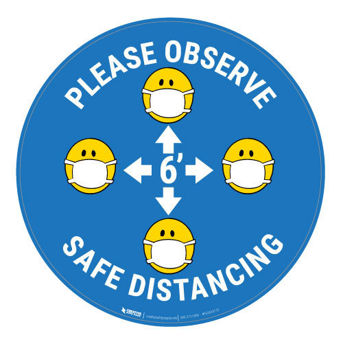 Please Observe Safe Distancing with Facemask Emojis - Blue  - Floor Sign