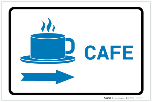Cafe Right Arrow with Icon Landscape v2 - Label