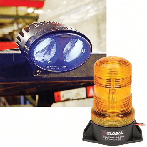 Forklift LED Safety Warning Spotlight/LED Amber Strobe Light Combo Kit