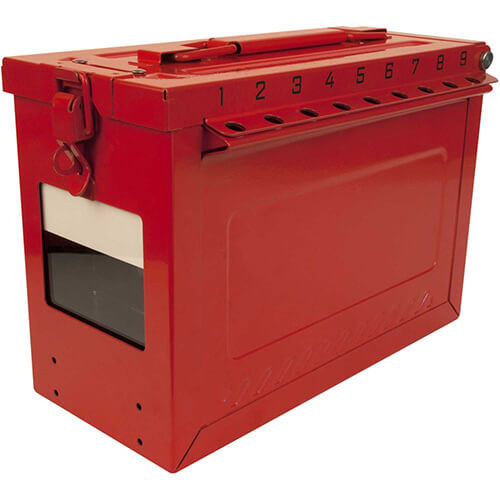 Master Lock® S602 Red Stainless Steel Group Lock Box