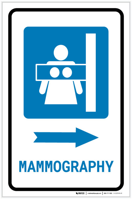 Mammography Right Arrow with Icon Portrait - Label