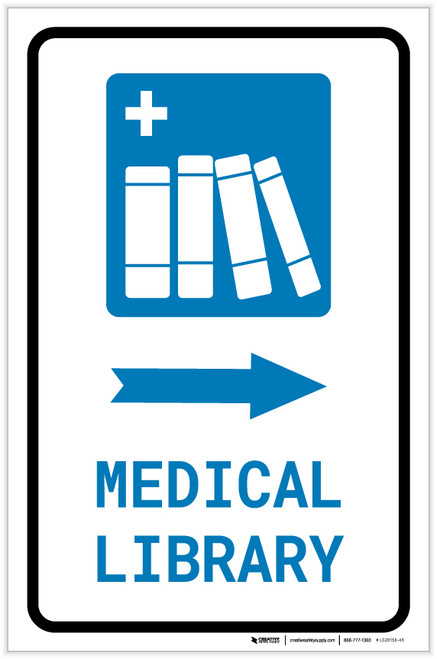 Medical Library Right Arrow with Icon Portrait - Label