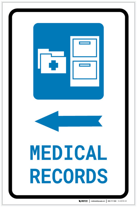 Medical Records Left Arrow with Icon Portrait - Label