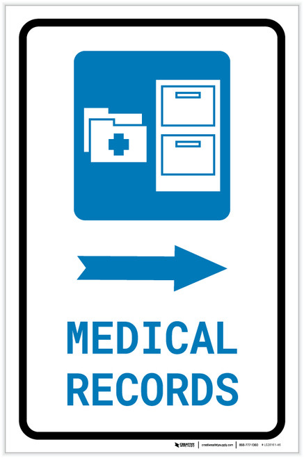 Medical Records Right Arrow with Icon Portrait - Label