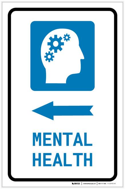 Mental Health Left Arrow with Icon Portrait - Label