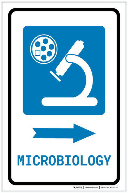 Microbiology Right Arrow with Icon Portrait - Label